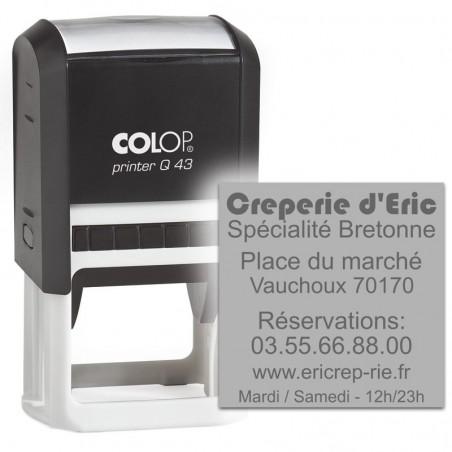 Tampon Colop Printer Line Q43 - 8 lignes max. - 43x43 mm