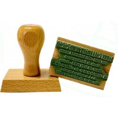 Tampon encreur bois personnalisé - 4 lignes