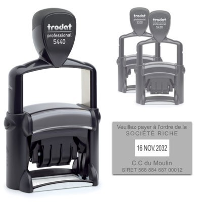 Tampon Dateur Trodat 5440 Metal Line 4.0 - 49X28 - Noir
